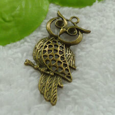 Free Ship 20 pieces bronze plated owl pendant 54x28mm #1227