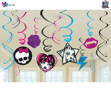 MONSTER HIGH PARTY SUPPLIES SWIRL FOIL 12 PCS HANGING PARTY DECORATIONS