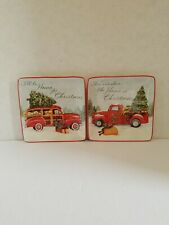 "Certifed International Susan Winget Ceramic Christmas 6"" Square 2Dessert Plates"
