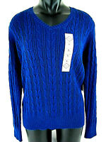 St John's Bay Size XL Cable Knit Sweater V neck Blue Navy Stretch Womens NEW NWT