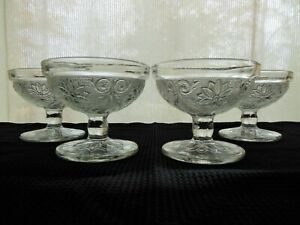 Tiara Indiana Glass 4 Clear Sandwich Sherbets Footed Dessert Cups