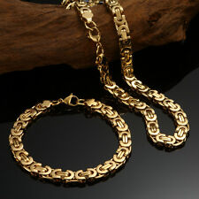 "24"" Men's 18k Yellow Gold filled Necklace Chain + Bracelet 60cm Jewelry Gift Set"