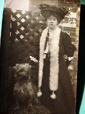 Antique photo postcard Lady big Fur hat Silky Terrier Yorkshire FURRY  dog *