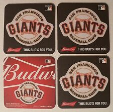4 Budweiser San Francisco Giants Beer Coasters Pub Bar Mat Brewing SF