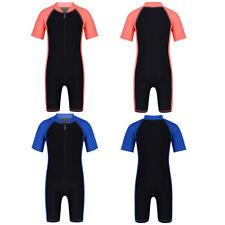 Kids Boys Girls Zippered Shorty Swimsuit Swimwear Summer Swimming Bathing Suit