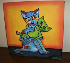 "Original Acrylic Painting Canvas Modern Pop Art Street Graffiti 12 x 12"" A.Davis"