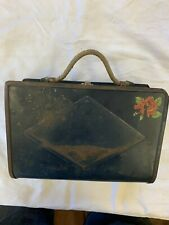 Antique Early 20th Century Childs Tin Lunch Box With Rope Handle Montgomery Ward