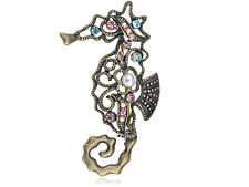 Alloy Crystal Rhinestone Seahorse Brooch Abstract Antique Tone Design Colorful