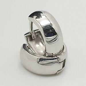 New EHC 14k 585 White Gold Small 10' mm Hoop Huggie Earrings