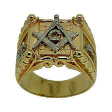 Handmade Masonic 14K Yellow and White Gold Ring Freemasonry Mason Size UNIQABLE