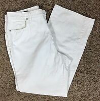 Lands' End Women's White Denim Jeans Size 16 Flat Front 4 pocket