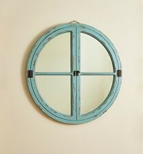 Round Porthole Mirror - Blue Distressed Frame - Coastal - Nautical - Free Ship