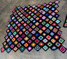 Vintage Afghan blanket throw crochet granny square multi color Diamond Shape 75�
