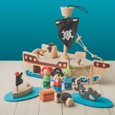 Wooden Pirate Ship Playset - Toy - Pre- School & Young Children - New