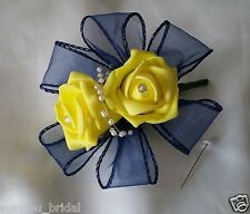 Wedding Corsage Pin On/ Buttonhole Yellow Artificial Roses Navy Ribbon Pearls