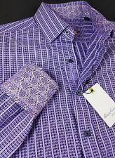 Robert Graham Men Geometric Houndstooth Lavender Small Classic-Fit Sport Shirts