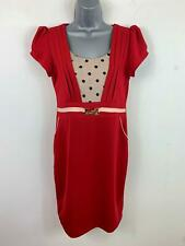 WOMENS H&H FASHION RED SMART/CASUAL DETAILED POCKETS FITTED DRESS SIZE L LARGE
