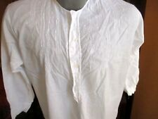 Antique Victorian White French Linen Embroidered Night Shirt Long Sleeves SMALL