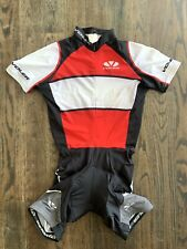 VOLER Raglan Cycling Suit Short Padded Red White Short Sleeve Size XS