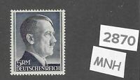 #2870   Nice MNH 5RM Adolph Hitler Third Reich Germany stamp / 1942-1944 / Sc527