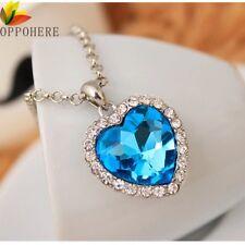 Light Blue Crystal Pendant  Heart Necklace Classic Titanic Ocean Crystal