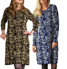 UK Sizes 10 - 26 Ladies Navy Silver or Black Gold Knitted Dress or Long Tunic
