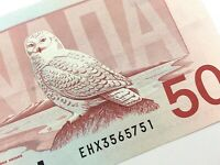 1988 Canada 50 Dollar Circulated EHX Replacement Banknote Thiessen Crow R160