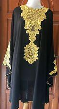 Moroccan Dubai abaya Black gold lace Tunic Plus Size UK 14 16 18 20 22 24 26