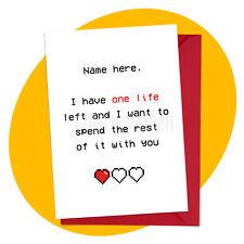 One Life - PERSONALISED ROMANTIC CARD - anniversary valentine's love retro gamer