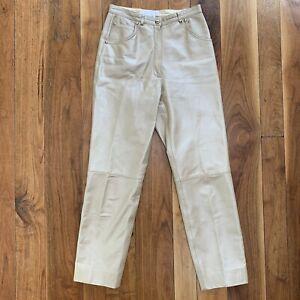 Escada Ivory Leather High Waist Pants size 34