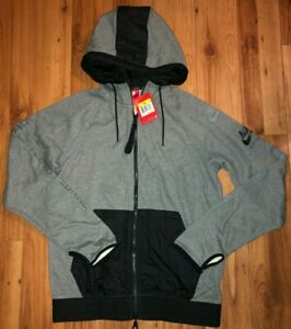 Mens Nike International Full Zip Hoodie Grey Black 802480-091 Sz S NWT $110