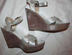 MICHAEL KORS AMBER METALLIC SILVER cork wedge ankle strap shoes 7.5 worn once
