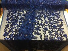 Lace Fabric - Flower Mesh Dress Sequins Shiny Royal Blue & Black By The Yard