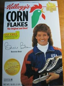 NEW Full Kellogs Corn Flakes Bonnie Blair Olympics  *rp*