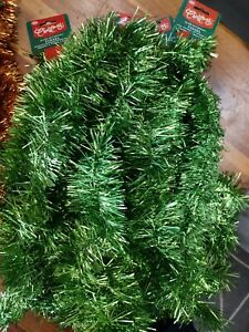 8Pcs 2M Traditional Christmas Tinsel Party Home Decoration Green Bulk 75mm