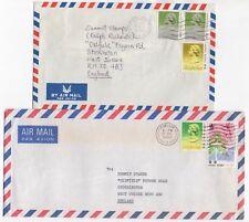 1988 HONG KONG 2 x Air Mail Covers KOWLOON to STORRINGTON GB