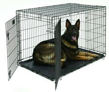 """MidWest iCrate Double Door Dog Crate Folding Metal Black, 48""""L x 30""""W x 33""""H"""