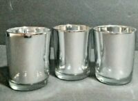 Silver/Glass Votive candle holders, Set of three