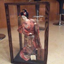 solid oak 8 x 8 x 18 inch doll case display showcase walnut stain