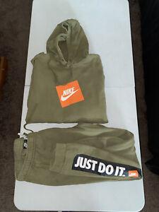 Nike Just Do IT Jogging Suit Men's Sweatsuit Green XL Hoodie Large Pants