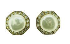 18K Y/G Vintage Mabe Pearl & Diamond Pierced Earrings