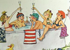 Grußkarte Doppelkarte Umschlag Cartoon mit Spruch Mädelsabend - Beste Freundinen