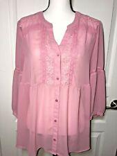 Lauren Conrad  Woman Blouse Size Large Long sleeve Pink Top