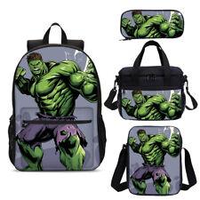Marvel Hulk Kid Backpack School Insulated Lunch Box Cross-Body Bag Pen Case Lot