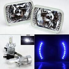"7X6"" Clear Glass Blue DRL Headlight Conversion w/ 6K 36W LED H4 Bulbs Pair Plym"