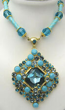 "AKKAD 16.5+2.75"" Necklace ""Exquisite Affair"" Enamel Beads Rhinestones Gold Tone"