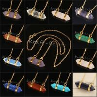Gold Plated Gemstone Hexagon Prism Beads Healing Point Chakra Pendant Necklace
