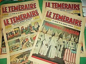 """LOT No 4 RARE Les Nos 15 16 17 18  Du Périodique """" Le TEMERAIRE """" 1943 BON ETAT"""
