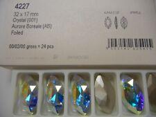4 swarivski pearshape stones,32x17mm crystal AB/foiled 4227