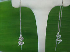 "925 sterling silver & RHODIUM plated ""SNAKE CZ"" Thread Dangling Earrings - GIRL"